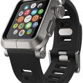 LUNATIK EPIK Aluminum Case and Silicone Strap for Apple Watch Series 1, Silver/Black