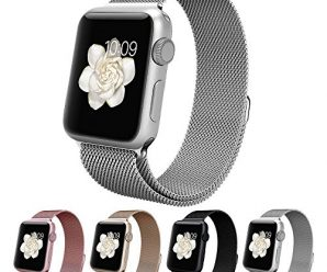Vitech Fully Magnetic Closure Clasp Mesh Loop Milanese Stainless Steel Bracelet Replacement Band Strap for Apple Iwatch Watch series 1 and series 2 sport & edition (Milanese-Silver-38MM)