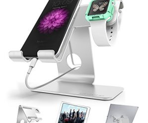Universal Cell Phone Stand, ZVE®Iphone Stand Desktop Tablet Stand ,Smartphone Holder Cradle, iwatch stand with iwatch Cases 42mm,Aluminium Phone Dock for Smartphone and Tablets Sliver
