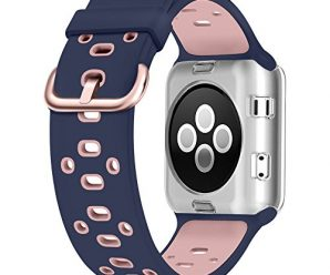 UMTELE Soft Silicone Replacement Band Sport Strap with Ventilation Holes for Apple Watch Nike+, Series 2, Series 1, Sport, Edition, Blue Pink