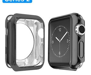 Apple Watch Series 2 Case 42mm, Alritz Plated TPU Protector Slim Anti-scratch Bumper Cover for iWatch Series 1 Series 2, Black