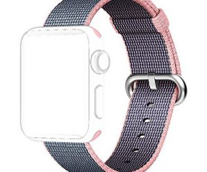 i-Liu Watch Band,38mm Woven Nylon Strap Replacement Nylon Band for Apple Watch Series 1 Series 2 (Light Pink/Midnight Blue)