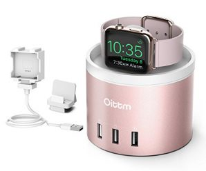 Apple Watch Charging Stand, Oittm [Nightstand Mode] [3 in 1 Bracket Power Charger ]4-Port USB Charging Stand with Phone Holder for iPhone 8/8 Plus/7/7 Plus/6/6 Plus/iWatch 1/2/Nike+ (Rose Gold)