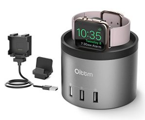 Apple Watch Stand, Oittm [Nightstand Mode] [3 in 1 Bracket Power Charger ]4-Port USB Charger Stand with Phone Holder for iPhone 8, 8 Plus, 7, 7 Plus, iWatch 1/2, Fitbit Watch, Nike+ (Space Grey)