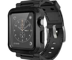 Simpeak Black Rugged Protective Case with Black Strap Bands for Apple Watch 38mm Series 1 Series 2