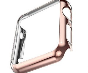 Apple Watch Case, HuanlongTM Apple Watch PC Plated Cover Case Slim Premium Super / Exact Fit / Plastic Cover Snap On Hard Protective Case for Apple Watch (Rose gold 38mm)