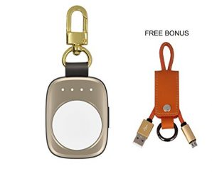 Portable Wireless Apple Watch Magnetic Charger [Apple MFI Certified], Pocket Size for Travel with Built in Power Bank for Apple Watch Series 1, 2 and Nike, Keychain Design by Pantheon – Gold