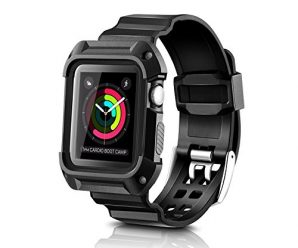 Apple Watch Case, WOOO Rugged Protective Case with Strap Bands for Apple Watch / Watch Sport / Watch Series 2 Series 1 (Screen Protector Included) (Black 42mm)