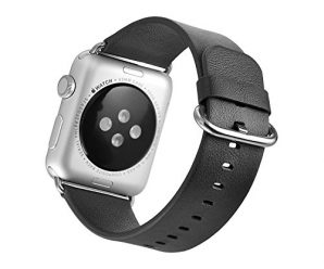 Mifa Apple Watch Series 1 2 Classic Buckle Band Strap Genuine Premium Top Grade Soft Leather Color Selection: Black Orange Pink Blue Brown Stainless Steel Clasp Lugs for Sports (Black) 42 mm