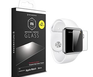 "Patchworks ITG PLUS (2 Pack) for Apple Watch 38mm – ""Made in Japan"" soda-lime glass, Finished in Korea, Impossible Tempered Glass Screen Protector"