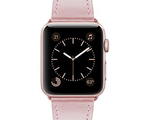 Marge Plus 38mm Apple Watch Band Genuine Leather iwatch strap Replacement Band with Stainless Metal Clasp for apple watch Series 2, Series 1, Sport, Edition, Rose Gold