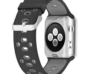 UMTELE Soft Silicone Replacement Band Sport Strap with Ventilation Holes for Apple Watch Nike+, Series 2, Series 1, Sport, Edition, Black/Gray