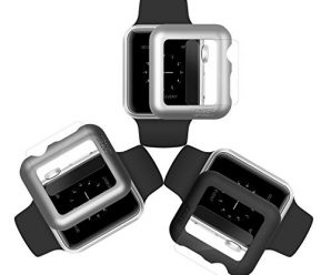 iCASEIT Apple Watch Snap-On Case & Glass 38mm (Pack of 3) Premium Slim & Light Impact & Scratch Protection (Include 3 Screen Protectors) iWatch Cases 38 mm – Black Silver & Gray