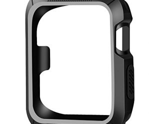 OULUOQI Apple Watch Case 38mm, 2 colors Design [Patent Pending], Shock-proof and Shatter-resistant Protective iWatch Case for Apple Watch Nike+, Series 2, Series 1, Sport, Edition- Black / Gray