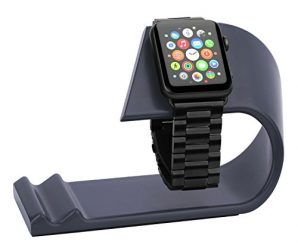 Apple Watch & iPhone Stand, Aluminum Alloy Apple Watch iPhone Charging Dock, iWatch Stand- 2 in 1 Desktop Station, Smart Watch Charging Station Holder for apple watch and iphones. (Space Gray )