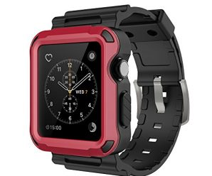 Simpeak Red Rugged Protective Case with Black Strap Bands for Apple Watch 42mm Series 1 Series 2