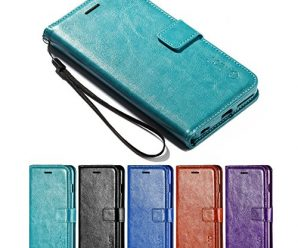 iPhone 6S Plus Case, iPhone 6 Plus Case, HLCT PU Leather Case, With Soft TPU Protective Bumper, Built-In Kickstand, Cash And Card Pockets (Teal)