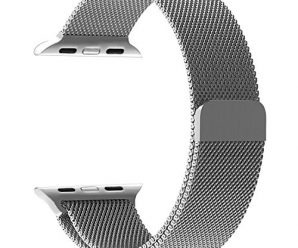Yearscase Apple Watch Band 42MM Milanese Fully Magnetic Closure Clasp Mesh Loop Stainless Steel iWatch Band Replacement Wrist Bracelet Strap for Apple Watch Series 1 Series 2 Sport&Edition (Silver)