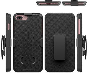 iPhone 7 Plus Case, HLCT Holster Combo Case with Kickstand and Swivel Belt Clip for Apple iPhone 7 Plus (Black)