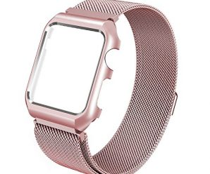 Apple Watch Band, 38mm with Metal Case Milanese Loop Magnetic Mesh Stainless Steel – Shockproof Protective Screen Bumper w Anti-scratch Soft Rubber for iWatch Sport & Edition – Rose Gold