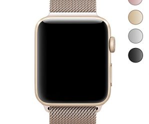 Walcase Fully Magnetic Closure Clasp Mesh Loop Milanese Stainless Steel iWatch Band for Apple Watch Series 2 Series 1 Sport and Edition – 42mm Gold