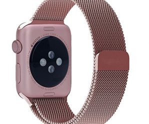 Been5le Milanese Loop Stainless Steel Replacement iWatch Band with Magnetic Closure Clasp for Apple Watch Sport&Edition 42MM-Rose Gold