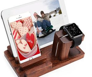Watch Stand Cell Phone Stand Bamboo Docking Station Shrmia Rosewood Charger Dock Desk Holder Display Cradle Bracket for iPod iPhone iPad & Other Phones Tablets