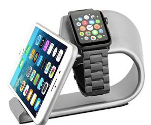 Apple Watch Stand with iPhone Dock, Aluminum Alloy Apple Watch iPhones Charging Dock, iWatch Stand- 2 in 1 Desktop Station, Smart Watch Charging Station Holder for apple watch and iphones. (Silver)