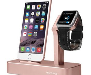 Apple and Watch Stand, iVAPO Aluminum Apple and iWatch Holder 2 in 1 Bracket for Apple Watch Series 2 Series 1 iPhone 7 iPhone 7 Plus iPhone 6s Plus-Rose Gold