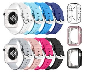 Apple Watch Sport Band 42mm, UMTELE Soft Silicone Replacement iWatch Bands Sport Strap with Buckle Clasp for Apple Watch Sport, Series 2, Series 1, 8 Pack