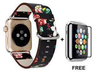 Apple Watch Band With Free Tempered Glass Screen Protector 38mm, Jimbird Soft PU Leather Replacement Strap Wrist Band for Nike+, Series 2, Series 1, Sport, Edition