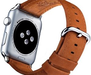 Apple Watch Leather Band 42mm and Screen Protector – Matte Brown iWatch Bands for men and women from Innoavations, compatible with Series 1 & 2, Sport, Nike, Edition or Hermes Apple Watches