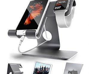 ZVE Universal 2 in 1 Cell Phone Stand for Desk Apple iphone and iWatch Charging Stands with watch Cases 42mm for Smartphone, iWatch and Tablets(Up to 12.9 inch), Space Grey