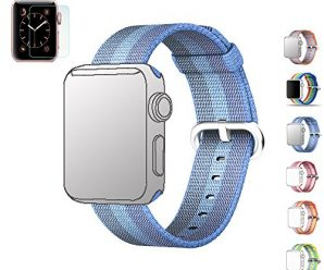 MIFFO Woven Nylon Fabric Replacement Watchband Wrist Strap Bracelet Connector Stainless Steel Buckle for Apple Watch iWatch Sport Edition Series 1&2, Bonus with 2 Screen Protectors (Tahoe blue 42mm)