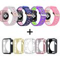 Oitom 38mm Soft Breathable Silicone Replacement Wristband Straps with Plated TPU Protective Case for Apple Watch Nike+,Series 1,Series 2,Sport,Apple Watch Edition M/L Size(Pink 4 38mm)
