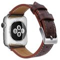 OULUOQI Apple Watch Band 42mm, Genuine Leather Replacement iWatch Band with Soft Strap Stainless Metal Buckle for Apple Watch Series 2, Series 1, Sport & Edition – Dark Brown
