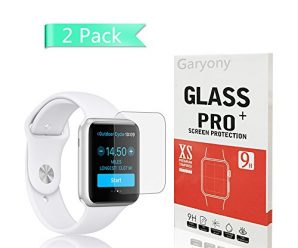 Apple Watch 42mm Smart Watch Tempered Glass Screen Protector,Garyony 9H Hardness, Anti-Scratch, Anti-Fingerprint, Bubble Free[Only Covers the Flat Area]Screen Protector for Apple Watch 42mm [2-Pack]