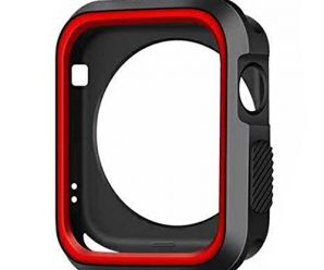 NewKelly Apple Watch Series 1/2 42mm Full Coverage Protective Bumper Shell Silica Gel Case Cover for Apple Watch Series 1/2 42MM (Red)