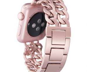 Apple Watch Band, Aokay 42mm Stainless Steel Metal Cowboy Chain Band for Apple Watch Series 2 Series 1 42mm ,Rose Gold