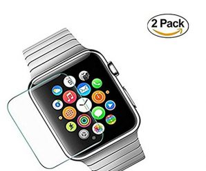 [New Enhanced] 38mm Apple Watch Screen Protector – OneWalker 2-Pack Tempered Glass Screen Protector [Anti-bubble, Scratch Resistant] [Only Covers the Flat Area]