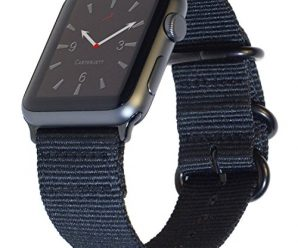 Apple Watch Band 42mm NYLON NATO iWatch Band- Durable Black Woven Straps, Buckle Clasp & Adapters for New Apple Watch Series 2, Series 1, Sport, Nike- Multiple Colors for 42 mm, 38mm by Carterjett
