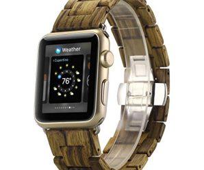 Watch Band, METFIT Men Women Natural Wood Wrist Watch Band Strap Belt Watch For Apple Watch Series 2 / 1 42mm 2017 (Gold)