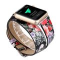 TCSHOW For Apple Watch Band 42mm,42mm Double Tour Soft PU Leather Pastoral/Rural Style Replacement Strap Wrist Band with Silver Metal Adapter for both (W double tour)