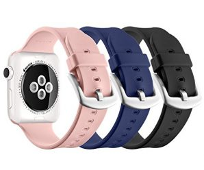 Apple Watch Sport Band 38mm, UMTELE Soft Silicone Replacement Band Sport Strap with Ventilation Holes for Apple Watch Series 2, Series 1, Sport, Edition, 3 Pack