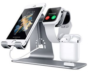 Bestand 3 in 1 Apple iWatch Stand, Airpods ChargerDock, Phone Desktop Tablet Holder for Airpods, Apple Watch/ iPhone 7 Plus/ iPad,Space Grey(Patenting, Airpods Charging Case NOT Included )