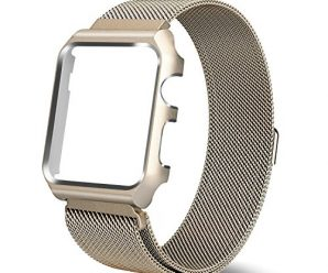Yearscase 38MM Milanese Loop Replacement Band with Metal Protective Case for Apple Watch Series 1 Series 2 Sport&Edition – Gold