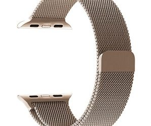 GEOTEL Apple Watch Accessories Milanese Loop Stainless Steel iWatch Band for Apple Watch Series 1 Series 2 Series 3 Sport&Edition with Magnet Lock(38mm-Champagne Gold)
