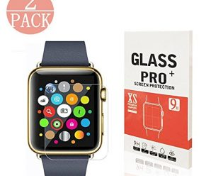 [2-Pack] Apple Watch 42mm Smart Watch Tempered Glass Screen Protector,Mautions Anti-Scratch, 9H Hardness, Anti-Fingerprint, Bubble Free[Only Covers the Flat Area]Screen Protector for Apple Watch 42mm