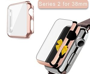 2win2buy wcase-c6 2 Case 38 mm Full Cover Apple Watch Series 2/Nike Case Slim Hard PC Plated Protective Bumper Cover and 0.2 mm Shockproof Shield Guard Screen Protector for iWatch 2016 – Rose Gold