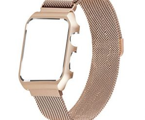 Apple Watch Band Milanese Loop,LikeItY Stainless Steel Magnetic Band with Metal Case for Apple Watch Series 1/2 – Shockproof Protective Bumper Replacement Strap(38mm Retro Gold)